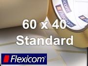 Flexicom Rollenetiketten, Format 60 x 40 mm, Papier, weiß, ablösbar