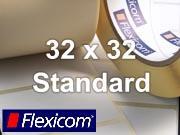 Flexicom Rollenetiketten, Format 32 x 32 mm, Papier, weiß, ablösbar