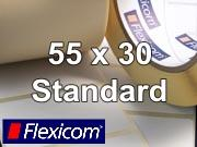 Flexicom Rollenetiketten, Format 55 x 30 mm, PET silber