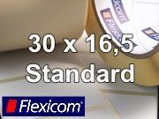 Flexicom Rollenetiketten, Format 30 x 16,5 mm, PET weiß