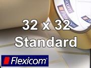 Flexicom Rollenetiketten, Format 32 x 32 mm, PET weiß