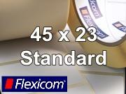 Flexicom Rollenetiketten, Format 45 x 23 mm, PET silber
