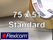 Flexicom Rollenetiketten, Format 75 x 51 mm, PET silber